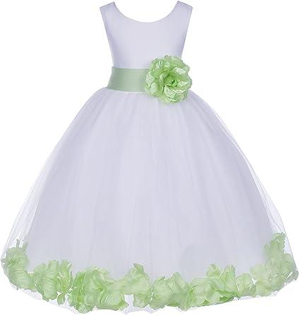 Vestido De Tul Blanco Con Pétalos De Rosa Y Flores Para Niñas 302s Clothing