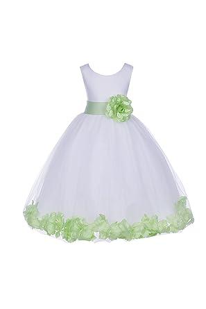 Amazon ekidsbridal white tulle rose petals junior flower girl ekidsbridal white tulle rose petals junior flower girl dresses christening dresses 302s 2 mightylinksfo