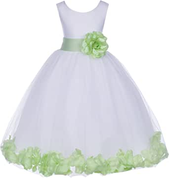 White Tulle Rose Floral Petals Flower Girl Dress Girls Party Dresses 302S
