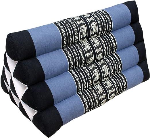 Cojín triangular negro diseño de color azul, 30 x 50 cm ...