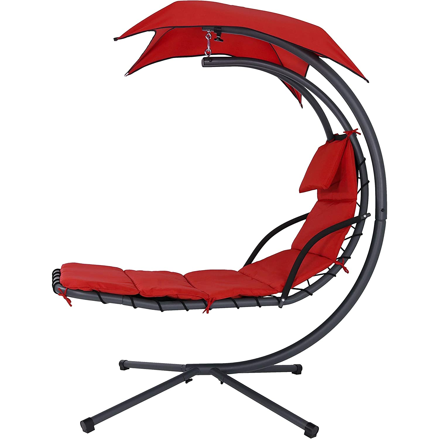 43 Inch Wide x 80 Inch Tall Sunnydaze Lakeview Floating Chaise Lounger Swing Chair with Canopy Umbrella Set of 2