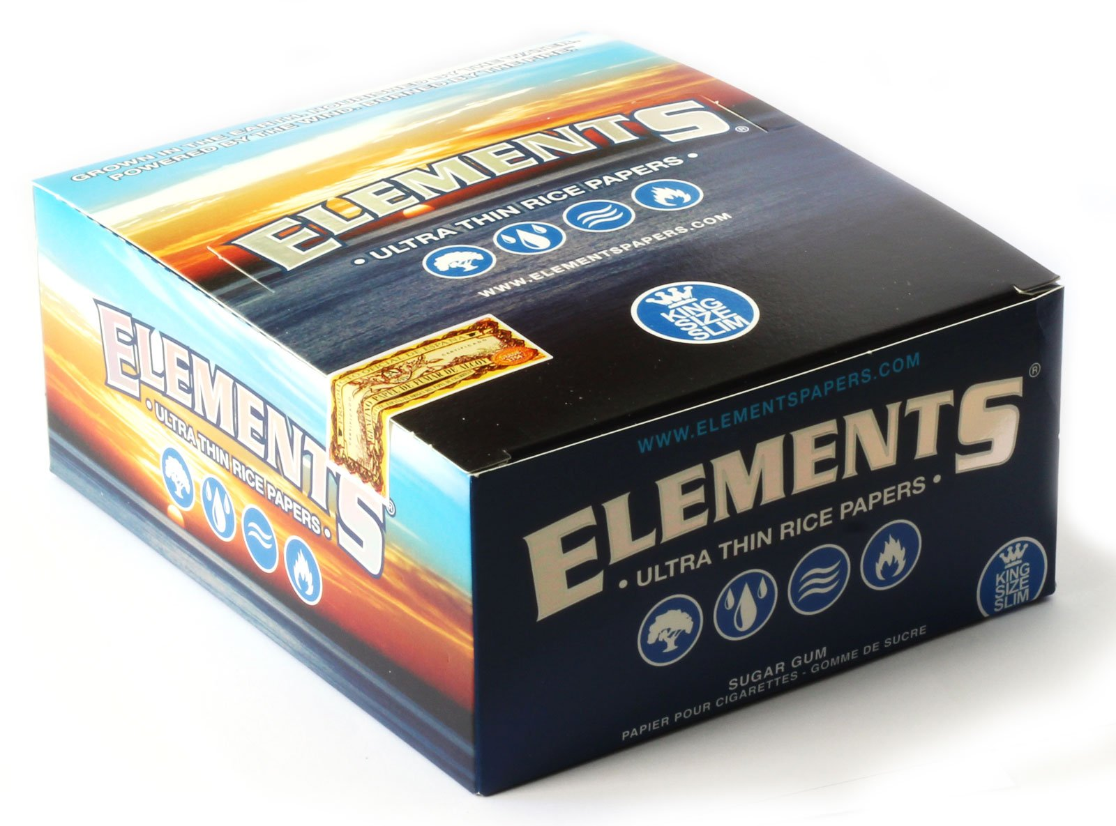 Elements King Size Slim Ultra Thin Rice Rolling Paper Full Box of 50 Packs by elements