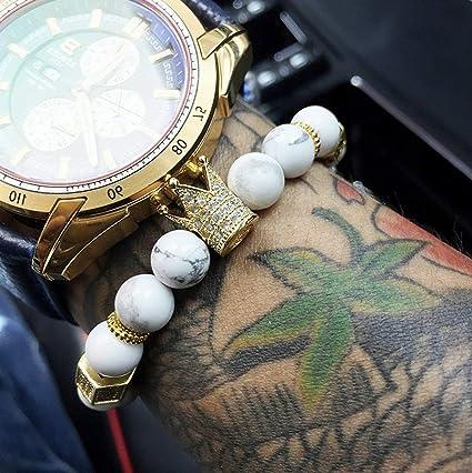 cabb15177bd26 Amazon.com: Mikash Luxury Men CZ Crown King Charm Bracelets White ...