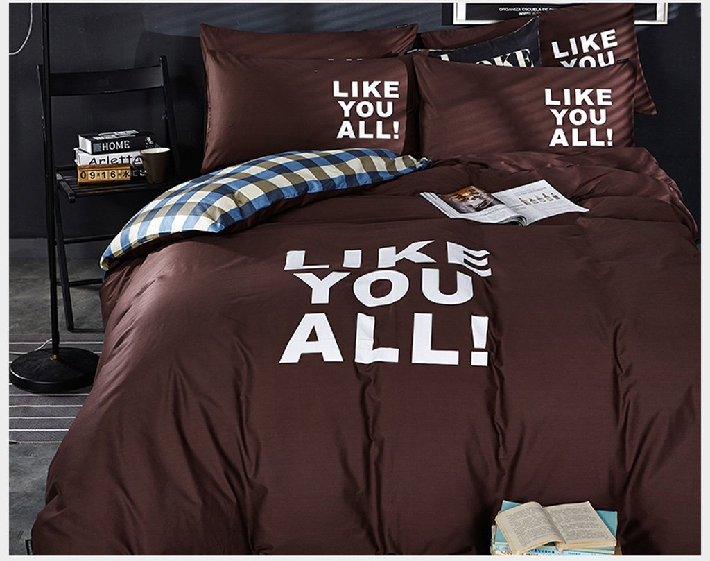 Hyun times Solid Cotton Four-piece Cotton 1.5m / 1.8m Bed Style (coffee Gold) Double Bed Linen Quilt Cover