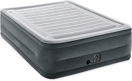 Intex Comfort Plush High Rise Dura Beam Air Bed w// Built-In Pump Queen Used