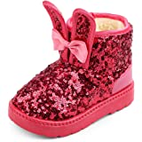 GESDY Girls Boys Winter Warm Glitter Sequins Snow Boots Shoes Sparkly Faux Fur Lined Booties Toddler//Little Kid
