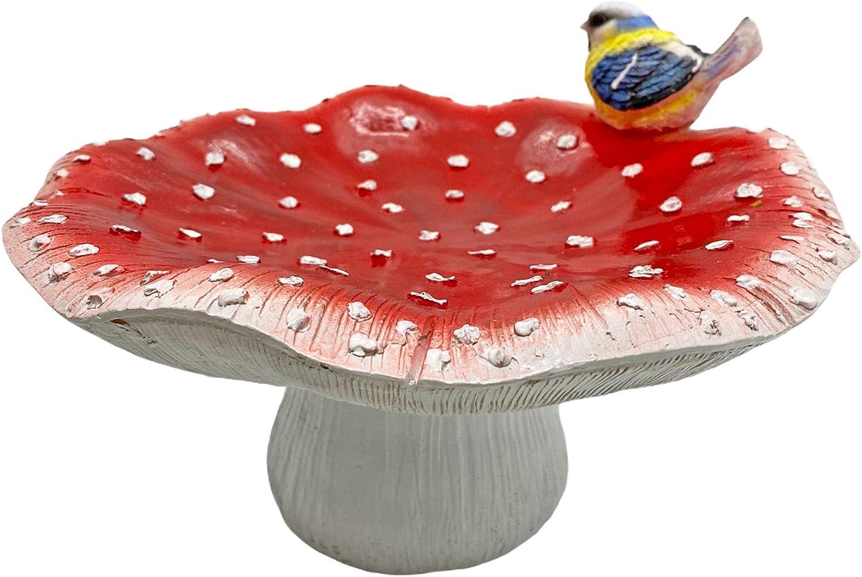 Farmwood Mushroom Shaped Bird Bath Garden Ornament Toadstool Outdoor Decoration