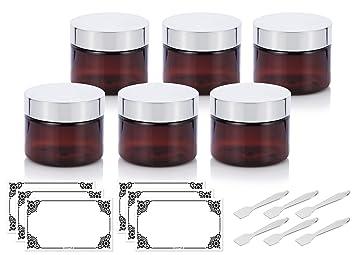 Spatulas Amber PET Plastic BPA Free Refillable Low Profile Jar 3 oz 12 Pack