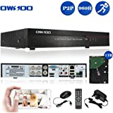 OWSOO 1TB Hard Drive Disk 4 Channels Digital Video Recorder 4CH 960H/D1 H.264 HDMI P2P Cloud Network DVR Digital Video Recorder + 1TB HDD, Audio Record Phone Control Motion Detection Email Alarm PTZ for CCTV Security Camera Surveillance System