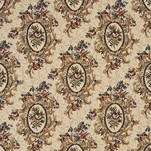 F665 Burgundy Beige And Green Floral Bouquet Tapestry Upholstery Fabric By The Yard from Discounted Designer Fabrics