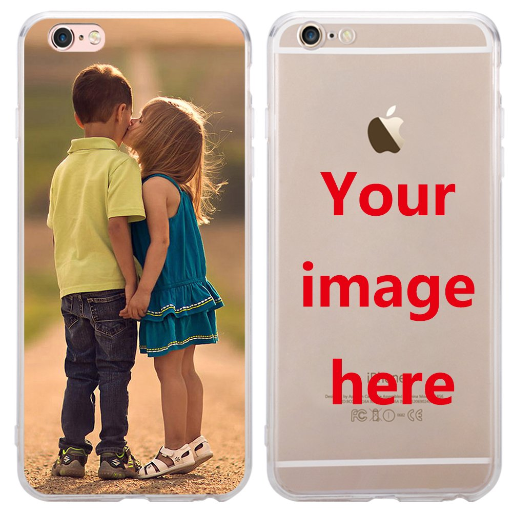 big sale 5e3b7 d658e Custom Phone Case for iPhone 7 Plus, Personalized Photo Phone Case , Soft  Protective TPU Bumper, Customized Cover Add Image Painted Print Text Logo  ...