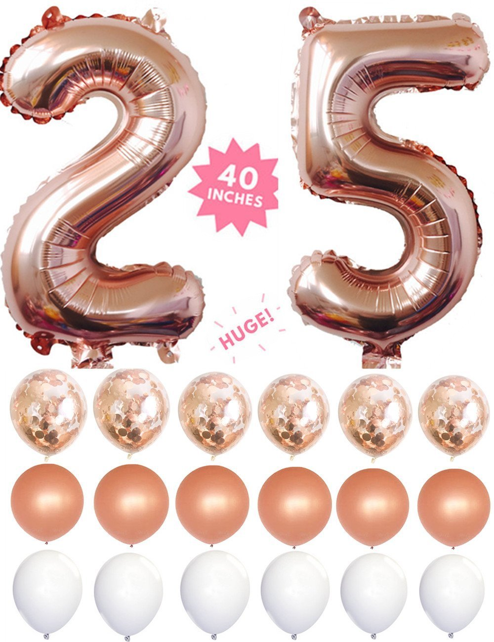 25 Rose Gold 40 Inch Huge Giant Number Balloons By Smiling Wolf Foil Confetti Latex For Anniversary25th Birthday Decorations Party