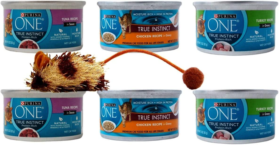 Purina ONE True Instinct Premium Wet Cat Food 3 Flavor 6 Can with Catnip Toy Sampler Bundle, 2 Each: Tuna Sauce, Chicken Gravy, Turkey Gravy (3 Ounces)