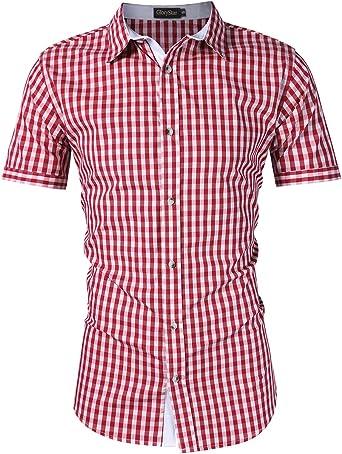 SFE Men Plaid Shirts Mens Long Sleeve Stand Collar Shirt Top Solid Slim Fit Button Down Dress Shirts