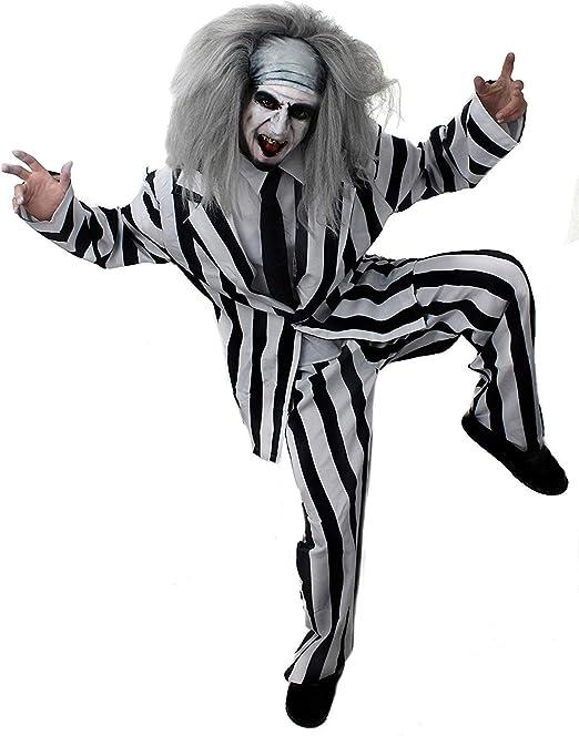 I LOVE FANCY DRESS LTD Traje A Rayas Disfraz DE Halloween para Hombre Traje Y Camisa A Rayas EN Blanco Y Negro Frente + Corbata Negra + Peluca + ...