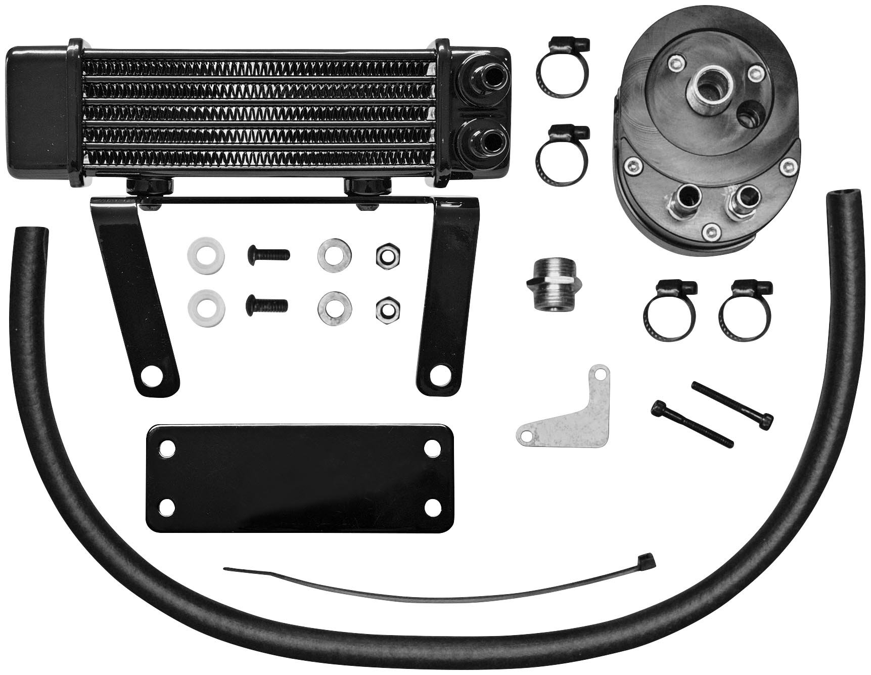 Jagg Oil Coolers Horizontal 6 Row Oil Cooler - Low Mount - Black 750-1290