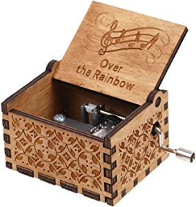 Wooden Hand Crank Rainbow Music Box Classic Vintage Wood Handmade Musical Boxes Best Gift for Kids,Friends (Over The Rainbow)