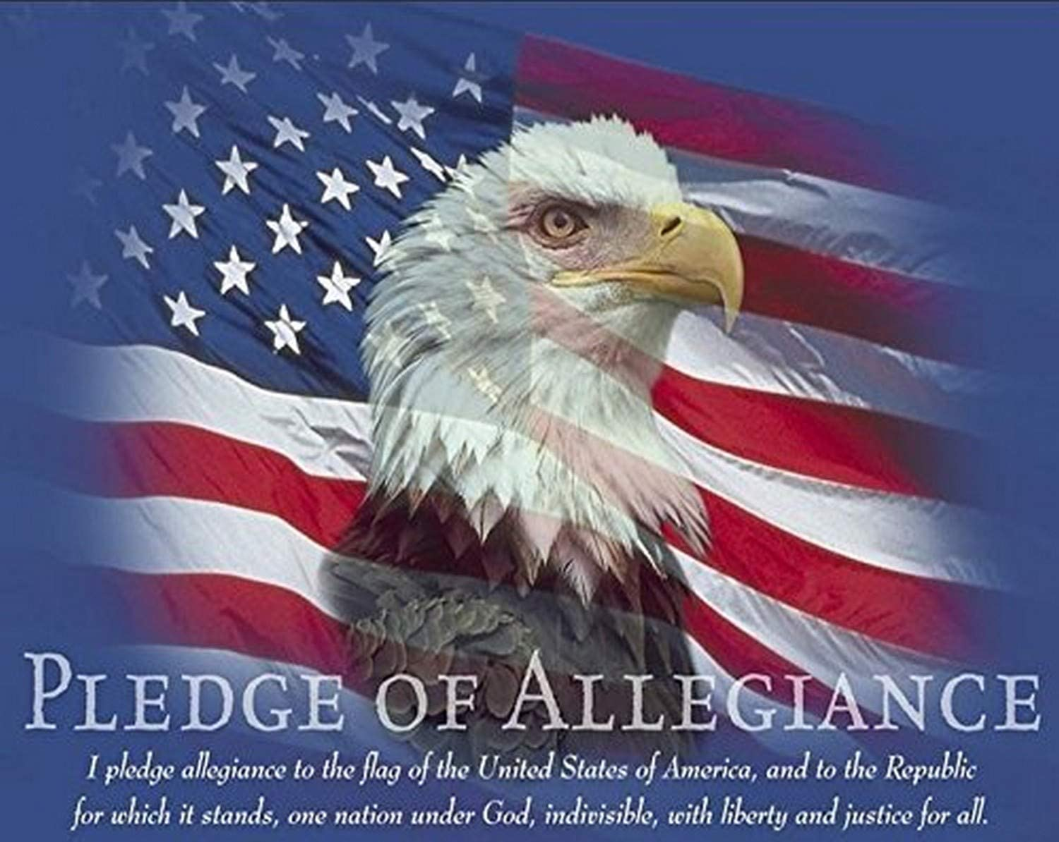8x10 In Bald Eagle and American Flag God Bless America Patriotic Art Print