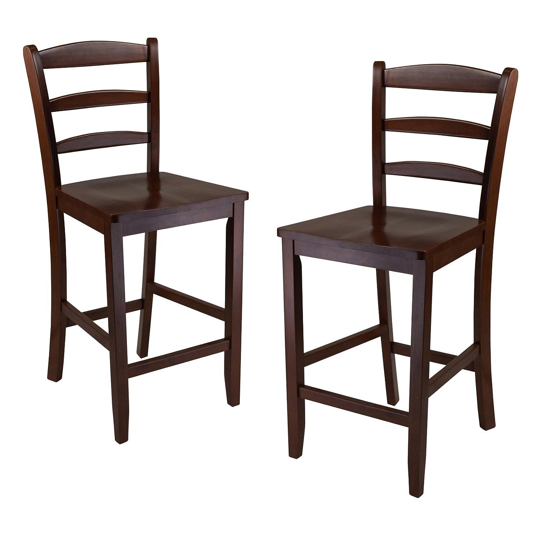 Amazon.com: Winsome 29-Inch Bar Ladder Back Stool, Set of 2: Kitchen u0026  Dining