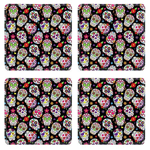Images Of Day Of The Dead Costumes (Luxlady Natural Rubber Square Coasters IMAGE ID: 36626870 Day of the Dead Sugar Skull Seamless Vector Background)