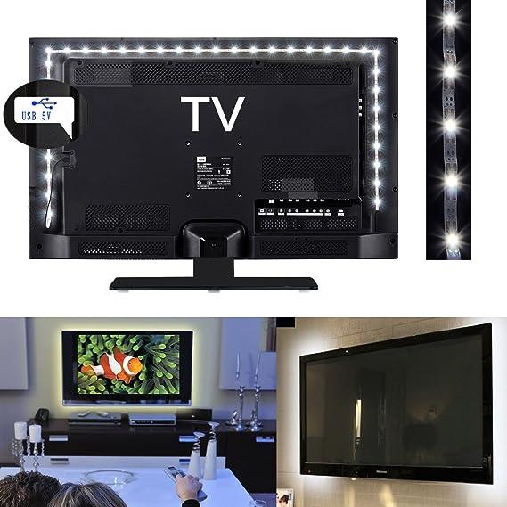 Guilty Gadgets - Tira de luces LED para televisor (1 m, funciona con USB), color blanco: Amazon.es: Hogar