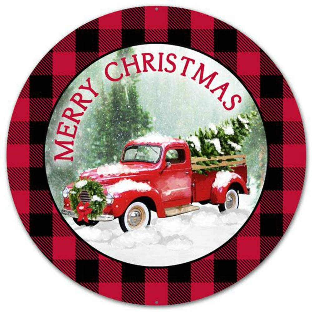 "Craig Bachman 12"" Merry Christmas Truck Round Plaid Tin Metal Christmas Red Farm Truck Wreath Accent Sign MD0443"