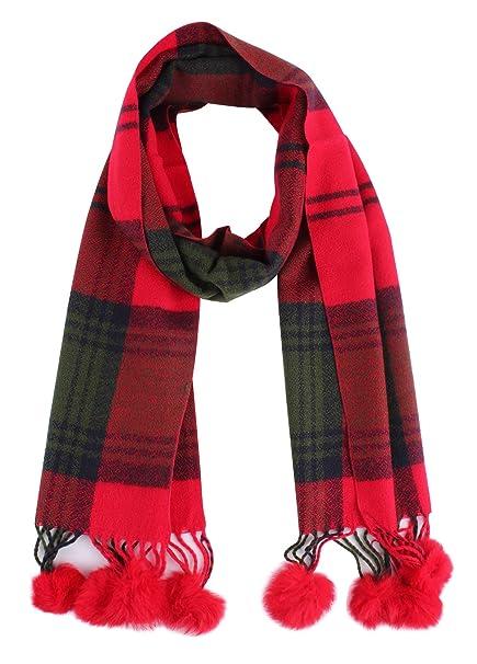 3a3aa5c31ef49 Jaweaver Plush Balls Plaid Blanket Scarf For Women Girls Cashmere Feel Soft  Warm Fall Winter Wrap