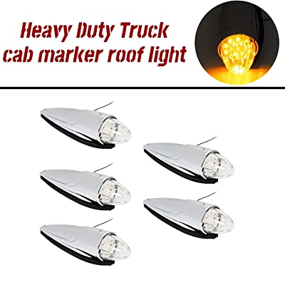 ECOTRIC 5PCS 17 LED Chrome Clear Torpedo Cab Marker Roof Running Top Lights Assembly Super Bright Heavy Duty Trucks Replacement for Volvo International Kenworth Peterbilt Freightliner Mack: Automotive