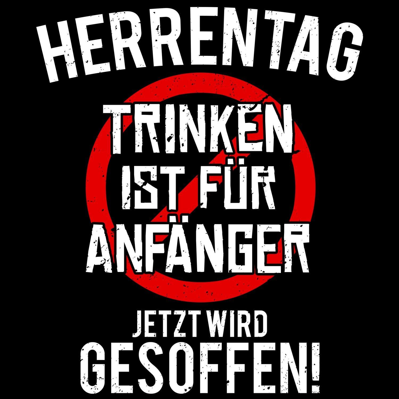 Fashionalarm Herren T-Shirt - Herrentag - Trinken ist für Anfänger | Fun  Shirt mit lustigem Spruch zur Vatertag Christi Himmelfahrt Party:  Amazon.de: ...