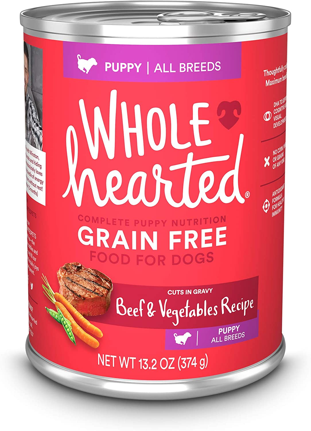 Petco Brand - WholeHearted Grain Free Beef and Vegetable Recipe Wet Puppy Food, 13.2 oz., Case of 12, 12 X 13.2 OZ