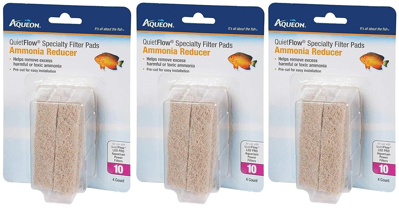 (3 Pack) Aqueon Quiet Flow 10 Ammonia Reducing Specialty Filter Pad (4 ct. Per Pack)