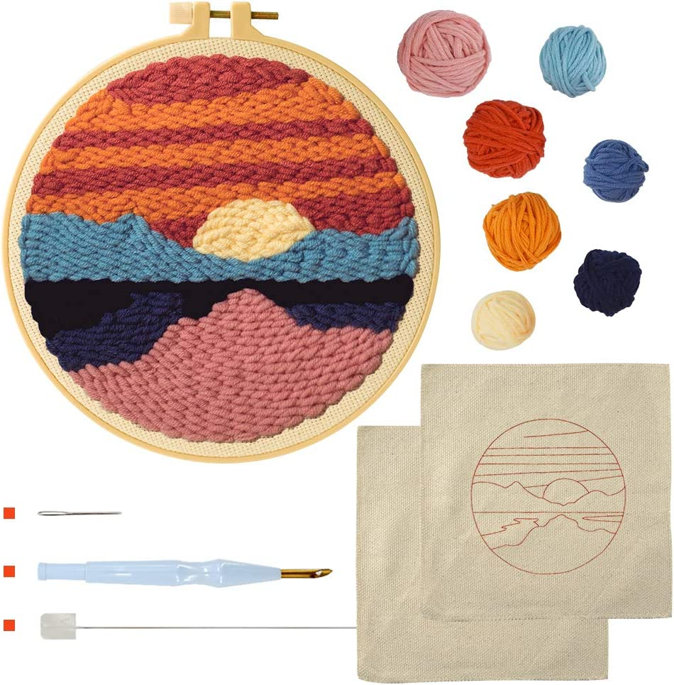 punch design unique handmade craft gift Forest punch needle kits for beginner punch kit with yarn DIY embroidery kit rug hooking