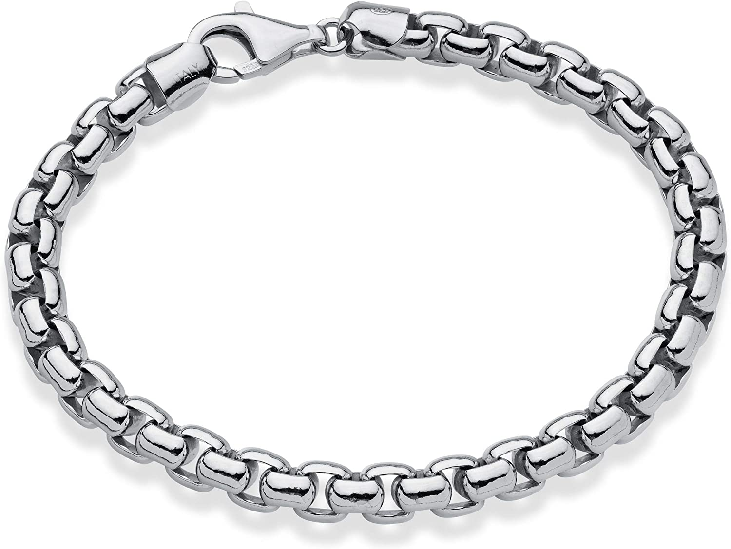 Miabella Solid 925 Sterling Silver Italian 6.5mm Square Rolo Link Round Box Chain Bracelet for Men 7.5, 8, 8.5, 9 Inch Made in Italy