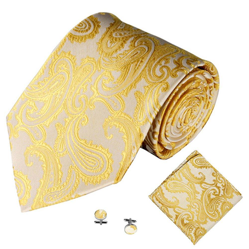 Xmiral Klassische Jacquard Krawatte Herren Einstecktuch Einstecktuch Manschettenknopf