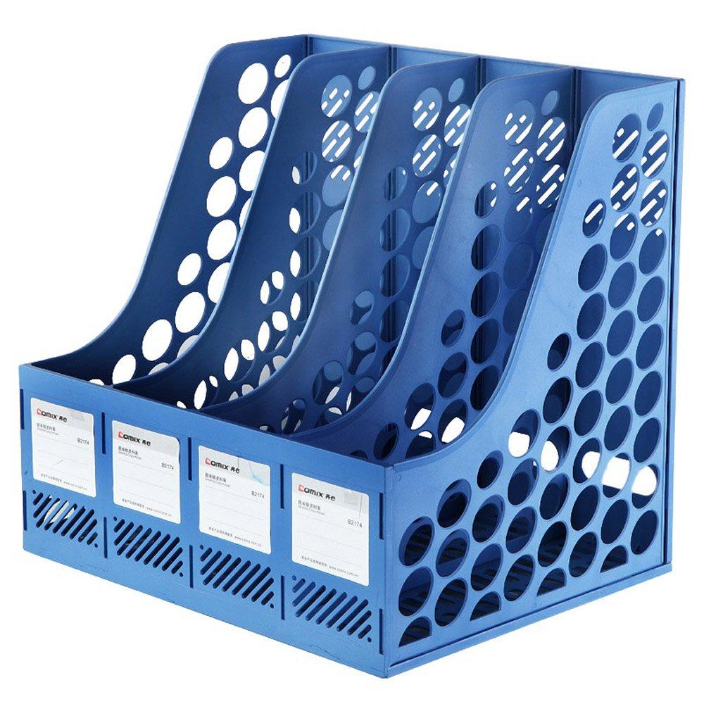KKmoon, organizer da scrivania e ufficio Comix B2174, con etichette e 4 scomparti, in plastica, per riviste, documenti, letteratura Blue