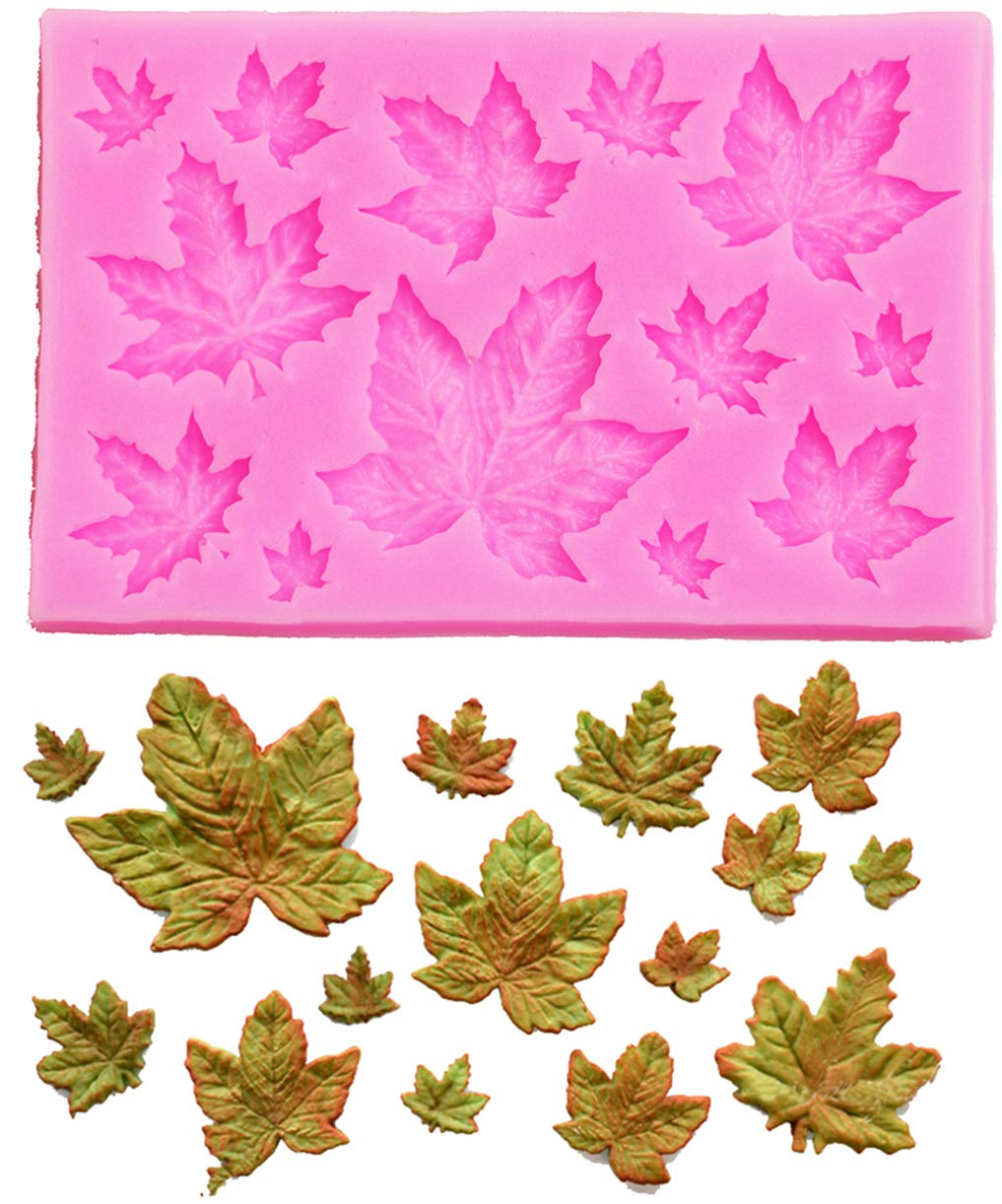Kisweet 3D Maple Leaves Gum Paste Flower Tools Fondant Chocolate Molds Baking Cookie Moulds Sugar Craft Polymer Clay Decorating Molds