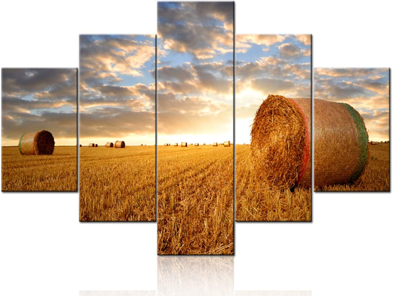 Amazon Com Tumovo Large 5 Piece Canvas Wall Art For Living Room Straw Bales On Farmland At Sunset Picture Modern Home Decor Stretched And Framed Ready To Hang 60 W X 40