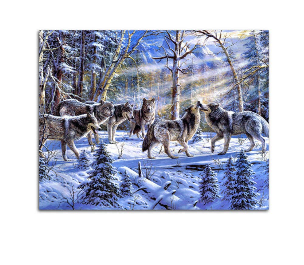 Wolf Animals DIY Malen nach Zahlen Kits Malen auf Leinwand Acryl Färbung Painitng nach Zahlen für Hauptwanddekor mit gerahmtem 40x50cm B07PK7982V | Billiger als der Preis