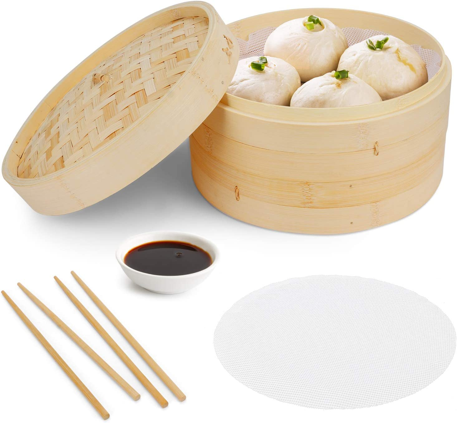 BestFire Bamboo Steamer Basket, 10in Dim Sum Steamer Instant Pot Accessories with 2 Silicone Cooking Mats and 2 pairs of Chopsticks for Rice, Dumplings, Vegetables, Meat and Fish