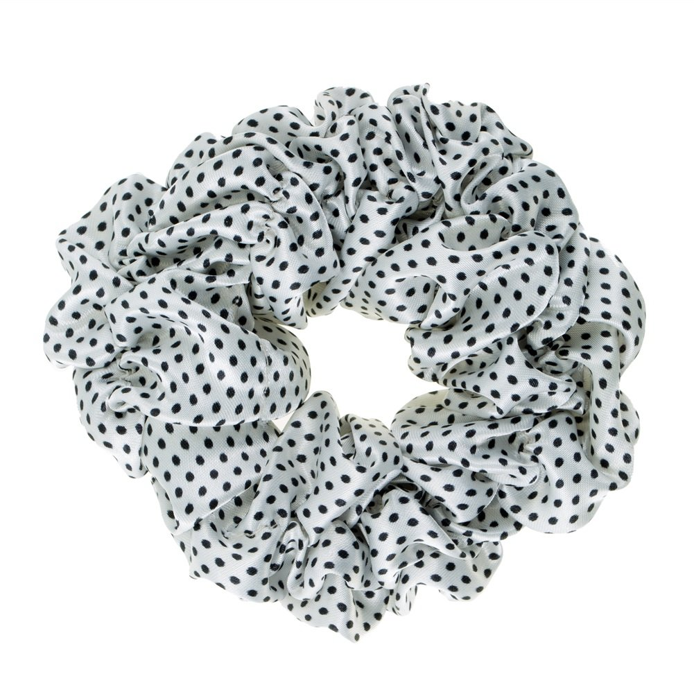 Great Quality Regular Soft Satin Hairband/Hair Scrunchy/Ponytail Holder/Elastic Band In White Colour With Small Black Dots By VAGA