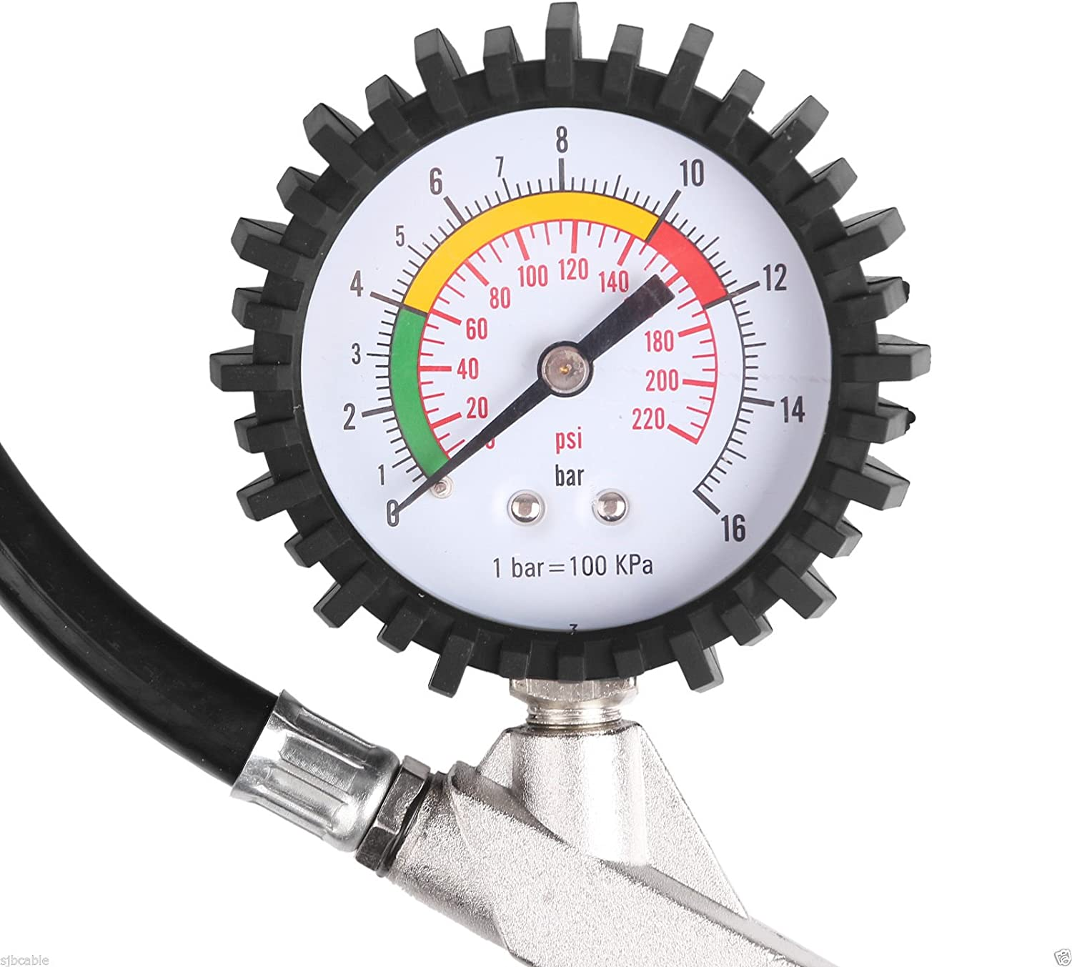 BALLSHOP 220PSI Car Tyre Inflator with Air Pressure Gauge for Heavy Duty Car Motorcycle Bicycle