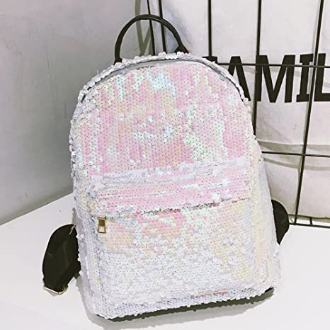 Sequin Backpack with Handle for Girls Flip Glitter Mermaid School Bag with Front Pocket Reversible Sequin Rucksack School Backpack Lightweight Travel ...