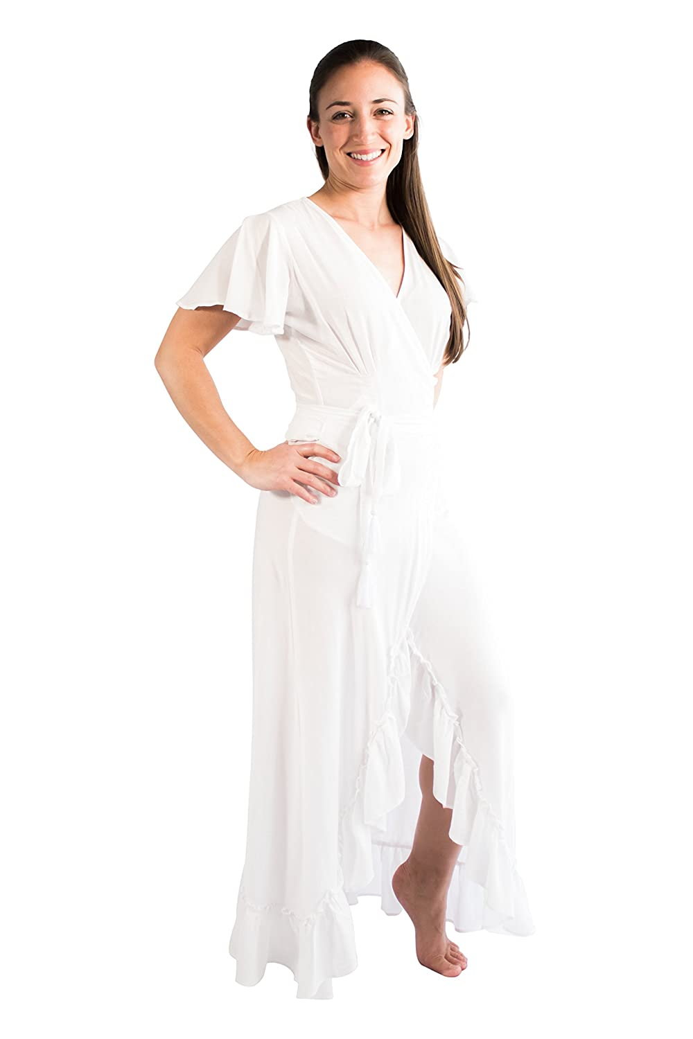 32698b09d60d PIYOGA Women s Goddess Maxi Dress - Flowy Bohemian Short Sleeve High-Low  Wrap (Angel White) at Amazon Women s Clothing store