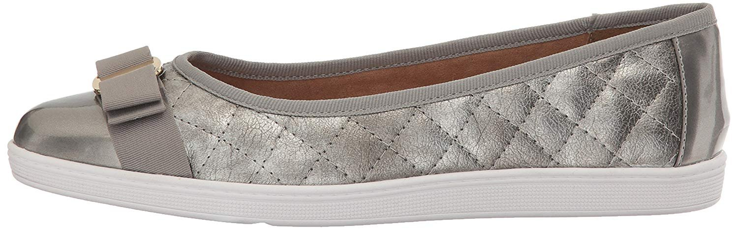 Soft Style Hush Puppies Women's Faeth Flat, Pewter, 7.5 N US