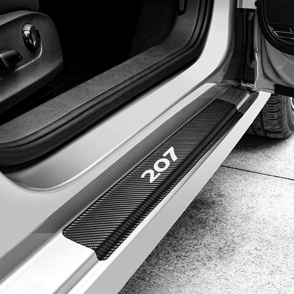 ASDDD 4Pcs Auto /Äu/ßere Schutz Einstiegsleisten T/ürschweller f/ür Peugeot 207 Protector Door Sill Kick Plates Kohlefaser Rutschfestes Anti-Kratz Au/ßent/ürschwellen Sticker Zubeh/ör