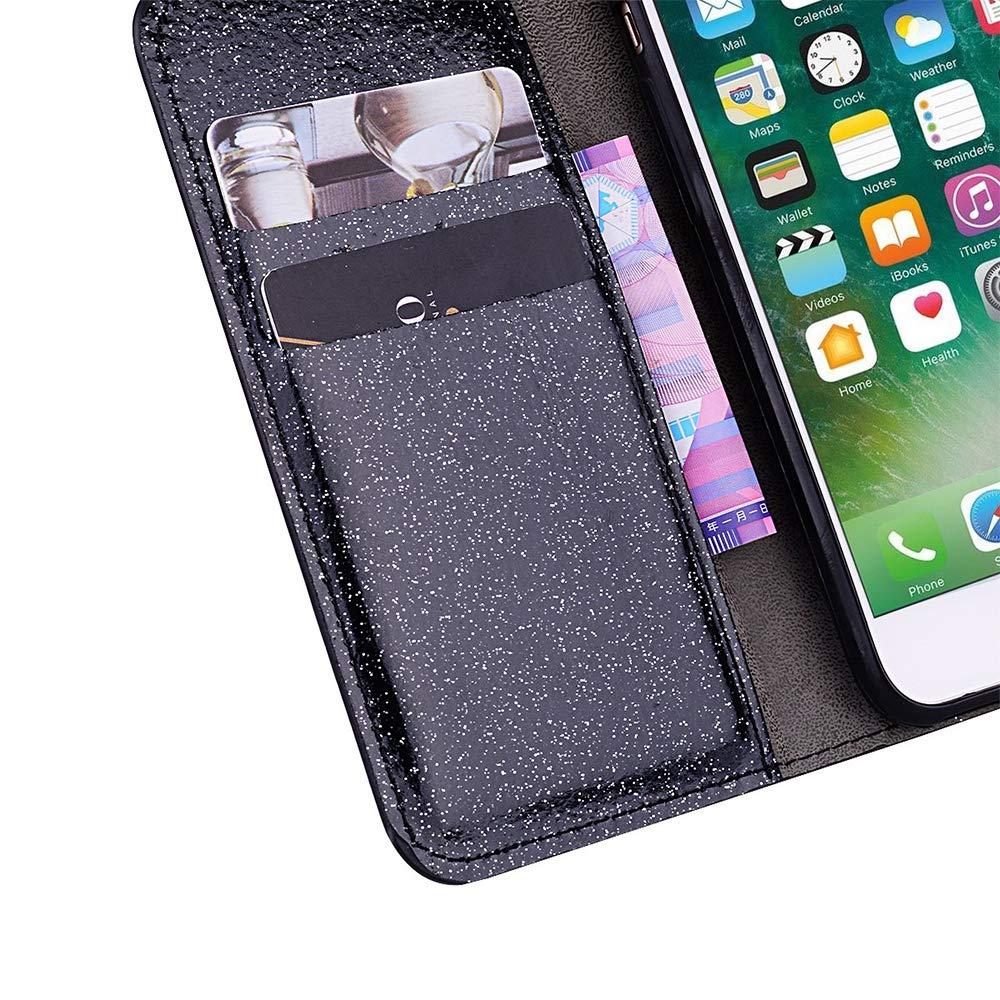 QC-EMART Cover per Samsung Galaxy A10 Custodia in Pelle Nero Glitter Paillette Luccichio Farfalla Portafoglio Porta Carta Guscio Caso Case Protettiva Custodie Cellulari per Ragazza