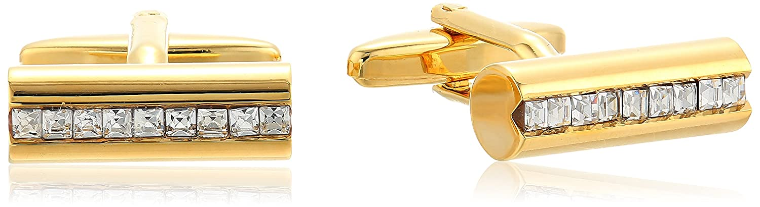 Stacy Adams Mens Rod Shaped Cuff Links with A Row of Rhinestones