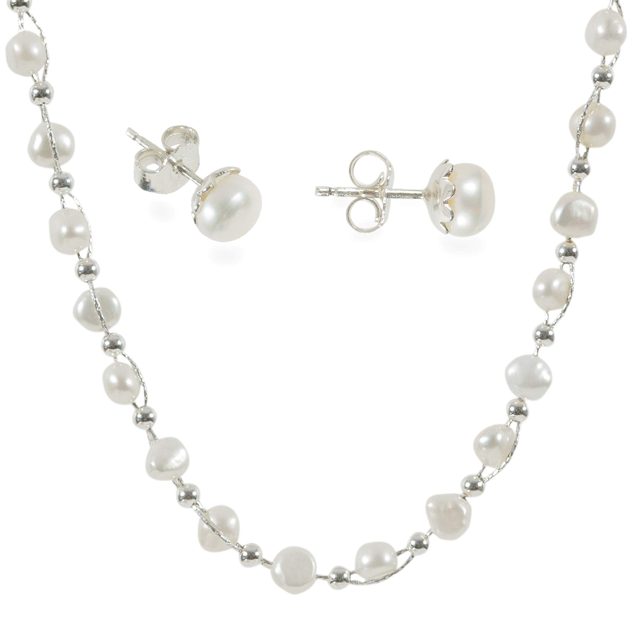 DiDaDo Entwined Cultured White Pearl and Sterling Silver Beads Chain Necklace with Bonus Sterling Pearl Studs