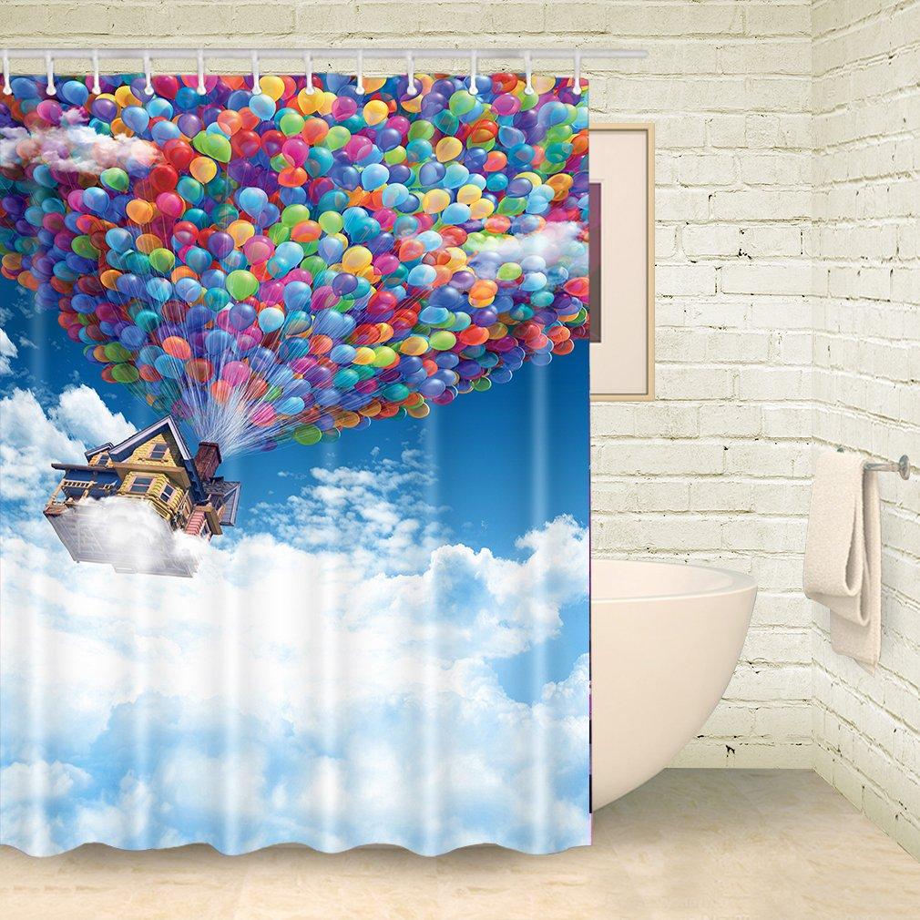 Tenda doccia Foog fantasy Cartoon Air Castle palloncino bagno divertente tende da doccia 70Wx70L