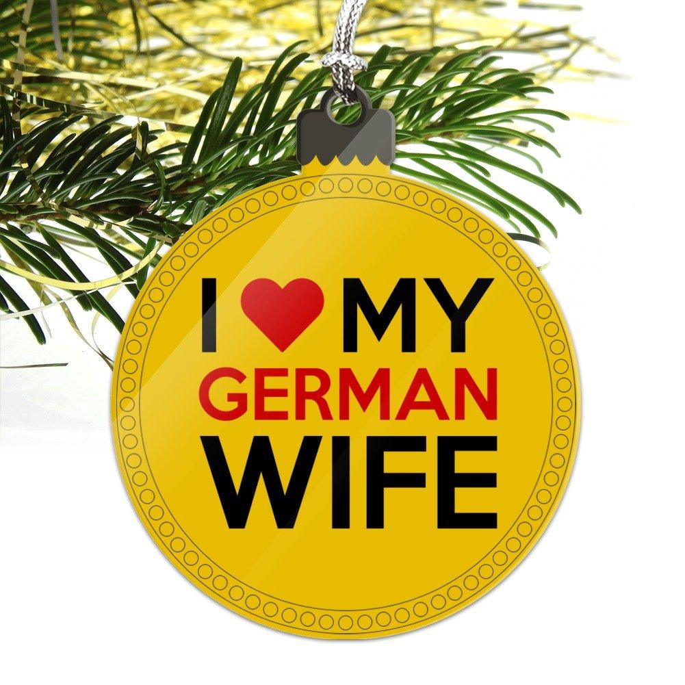 Amazon.com: I Love My German Wife Acrylic Christmas Tree Holiday ...